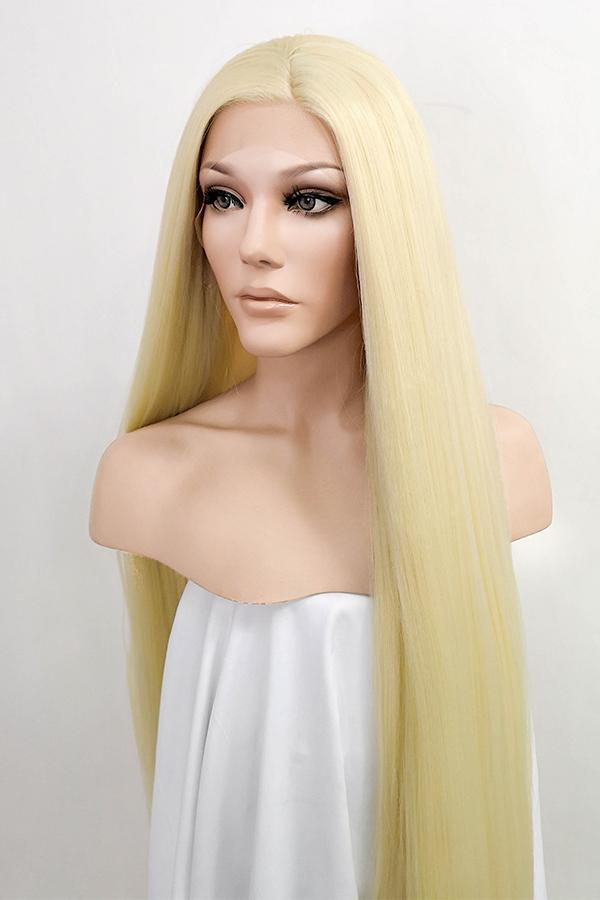"42"" Light Blonde Yaki Lace Front Synthetic Wig 10056"