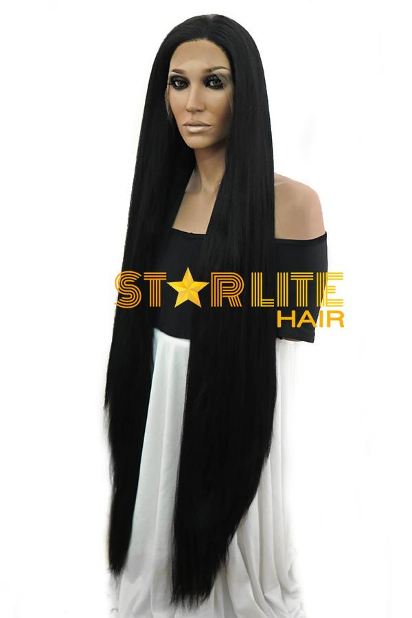 "42"" Jet Black Yaki Lace Front Synthetic Wig 10269 - StarLite Hair"