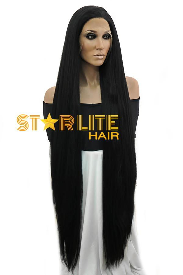 "39"" Jet Black Yaki Lace Front Synthetic Wig 10269 - StarLite Hair"
