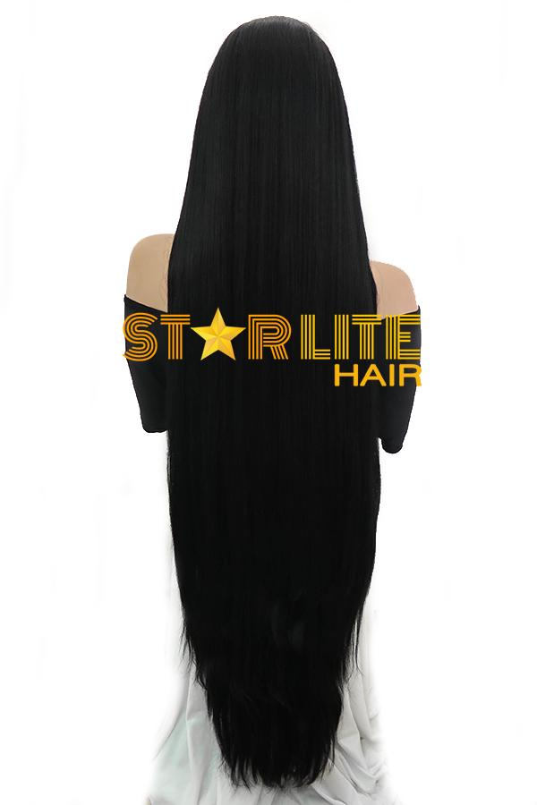 "45""Jet Black Yaki Lace Front Synthetic Wig 10269 - StarLite Hair"
