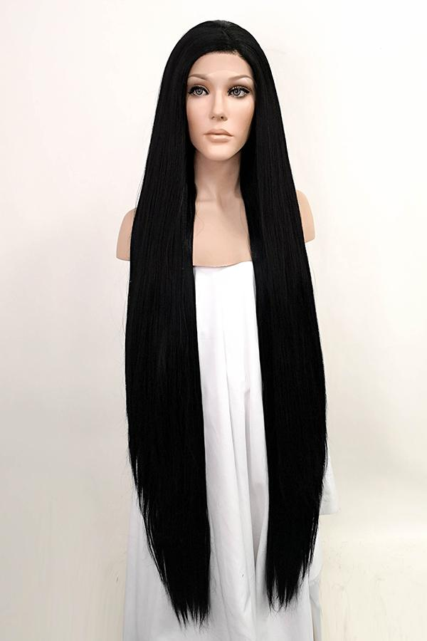 "42"" Jet Black Yaki Lace Front Synthetic Wig 10058"