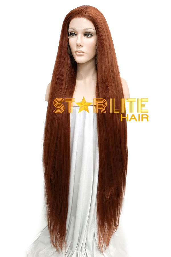 "39"" Reddish Brown Yaki Lace Front Synthetic Wig 10052"