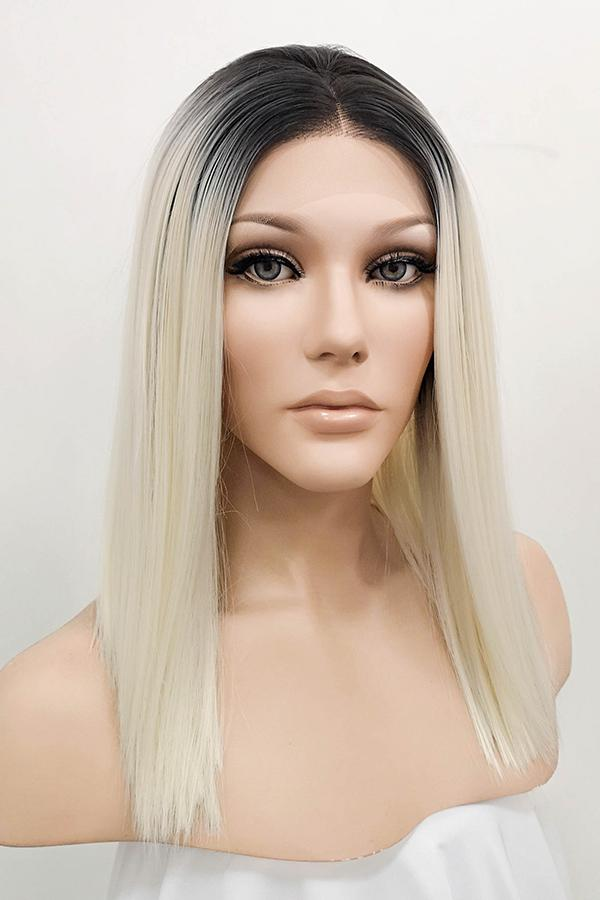 "16"" Light Blonde Dark Roots Lace Front Wig 10079 - StarLite Hair"