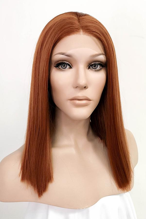 "16"" Auburn Lace Front Synthetic Wig 10081"