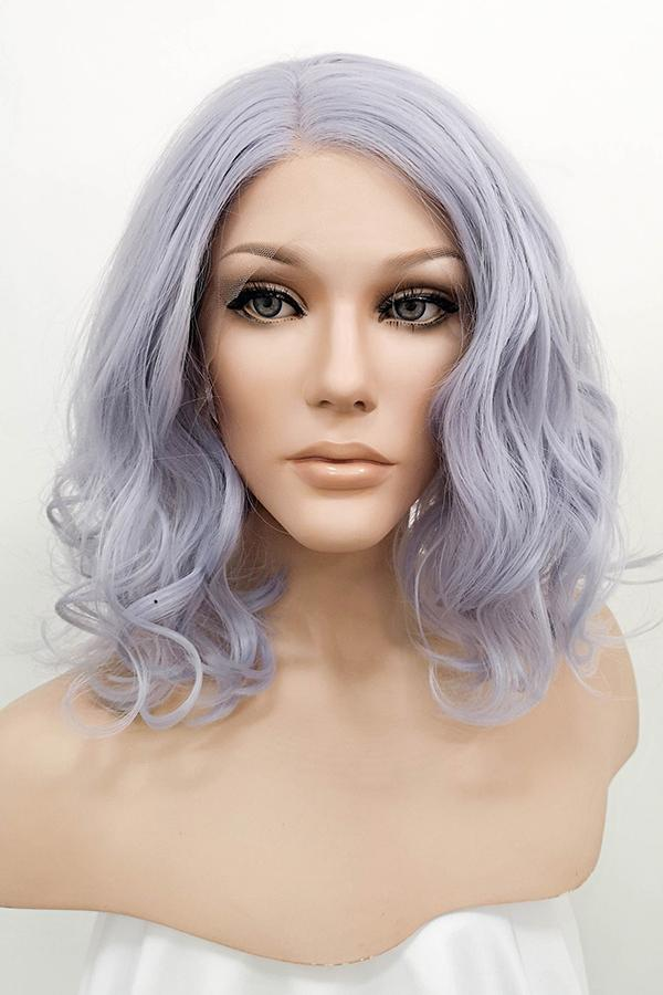 "16"" Purplish Grey Lace Front Synthetic Wig 10084"