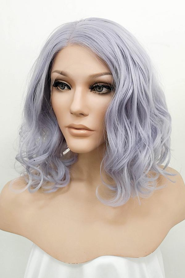 "16"" Purplish Grey Lace Front Synthetic Wig 10084 - StarLite Hair"
