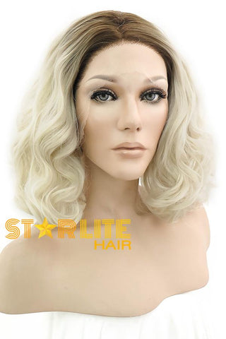 "14"" Mixed Blonde Dark Roots Lace Front Wig 10087"