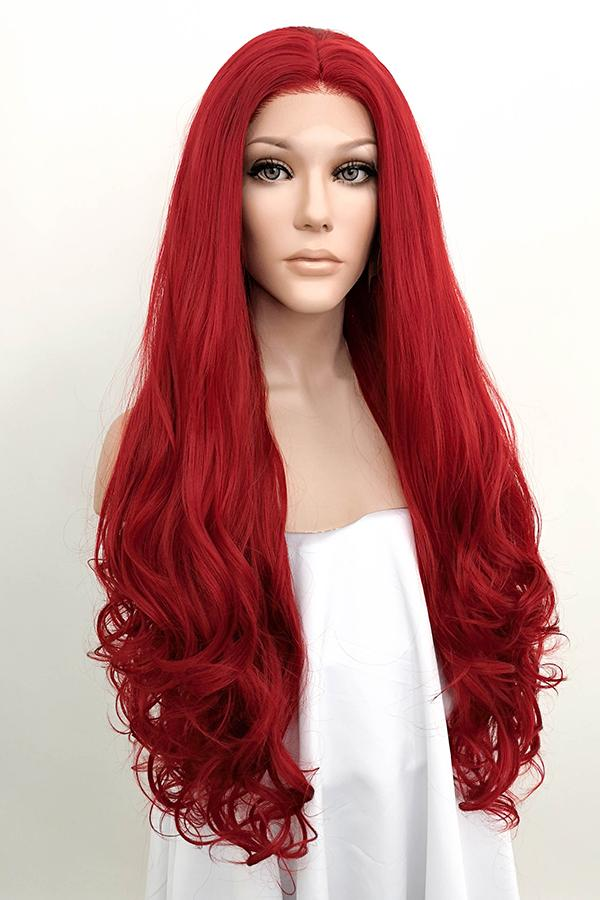 "28"" Red Lace Front Synthetic Hair Wig 10094"