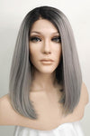 "12"" Black Mixed Grey Lace Front Synthetic Wig 10113 - StarLite Hair"