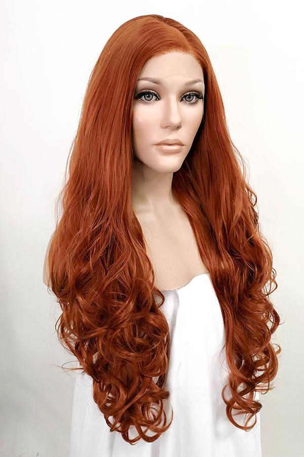 "28"" Auburn Lace Front Synthetic Wig 10001 - StarLite Hair"