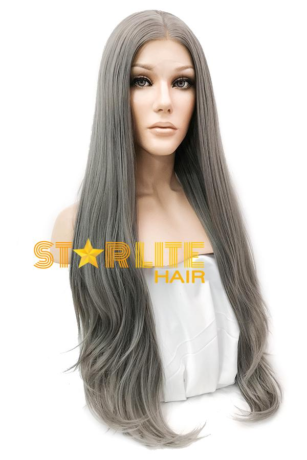 "28"" Silver Grey Lace Front Synthetic Wig 10004 - StarLite Hair"