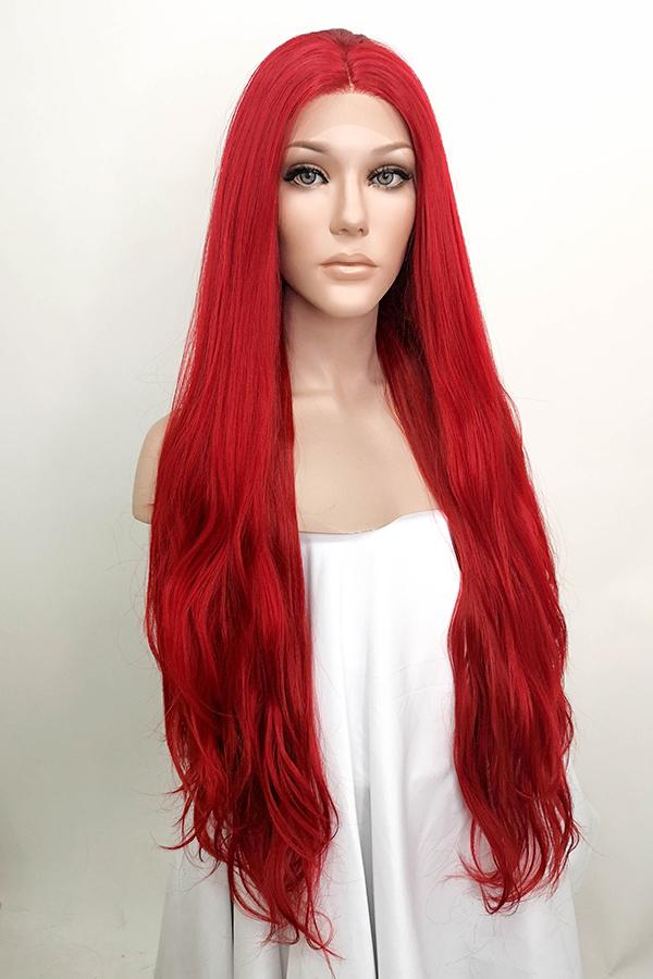 "30"" Dark Red Central Part Lace Front Wig 10005"