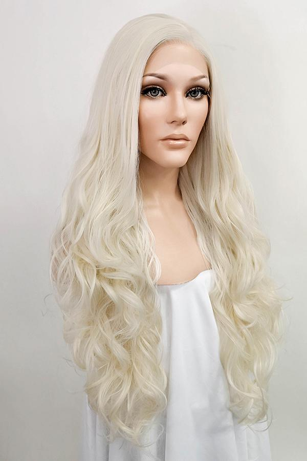 "26"" Platinum Blonde Lace Front Synthetic Wig 10032"
