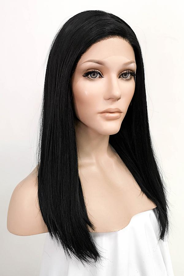 "24"" Black Lace Front Synthetic Hair Wig 10076"