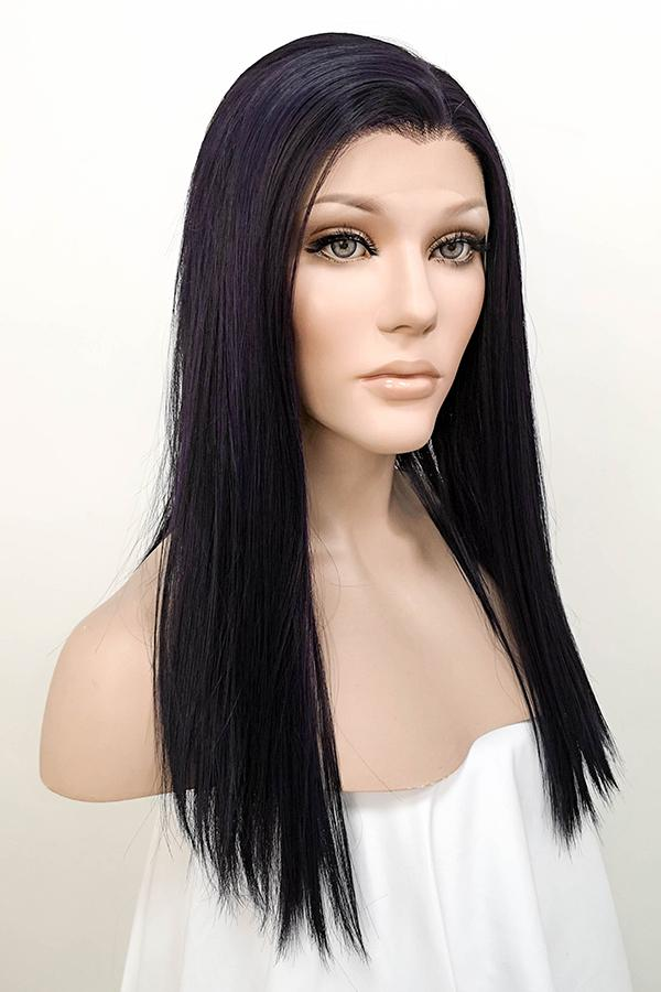 "16"" Dark Purple Lace Front Synthetic Wig 10111"