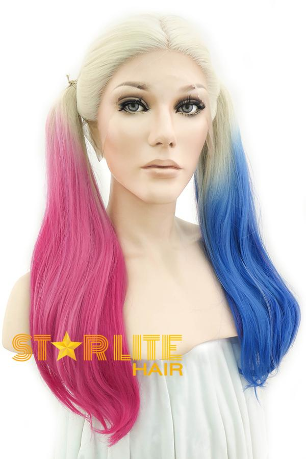 "22"" Blonde Harley Quinn Synthetic Magenta Blue Ponytail Lace Front Wig 10231"