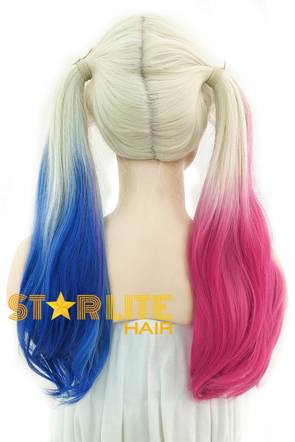 "22"" Blonde Harley Quinn Synthetic Magenta Blue Ponytail Lace Front Wig 10231 - StarLite Hair"