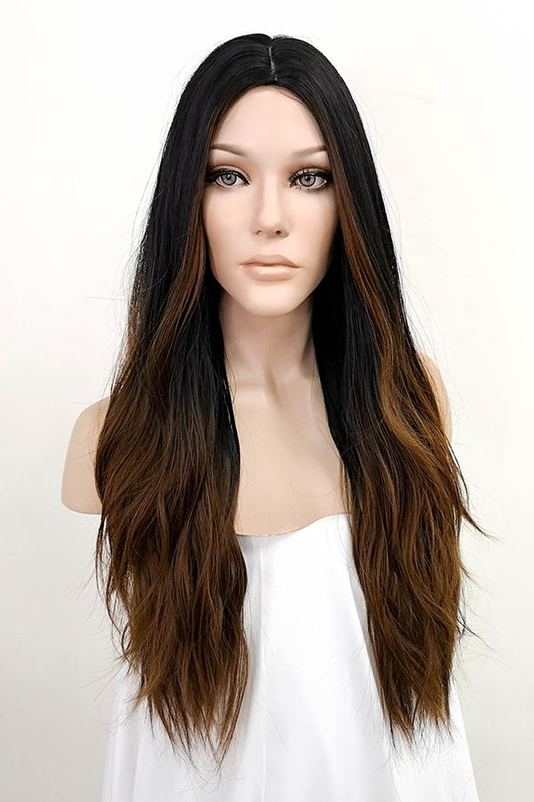 "26"" Black Brown Mixed Fashion Synthetic Wig 50232"