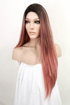 "26"" Pink with Dark Roots Fashion Synthetic Wig 50235"