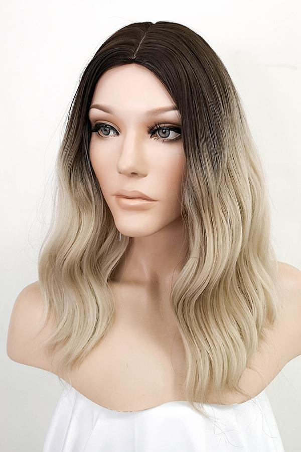 "16"" Blonde with Dark Roots Fashion Synthetic Wig 50236"