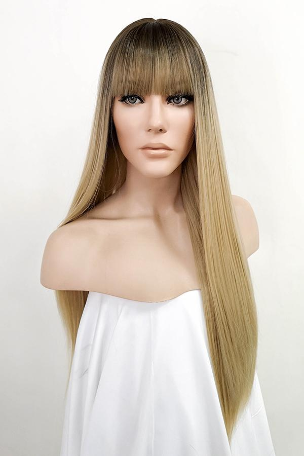 "26"" Blonde with Dark Roots Fashion Synthetic Wig 50238"