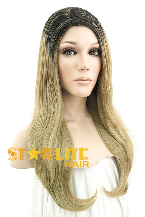 "28"" Medium Blonde Mixed Black Fashion Synthetic Wig 50025 - StarLite Hair"