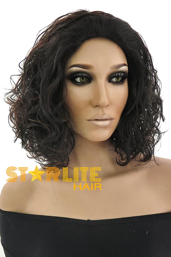 "17"" Black Mixed Brown Fashion Synthetic Hair Wig 50158 - StarLite Hair"