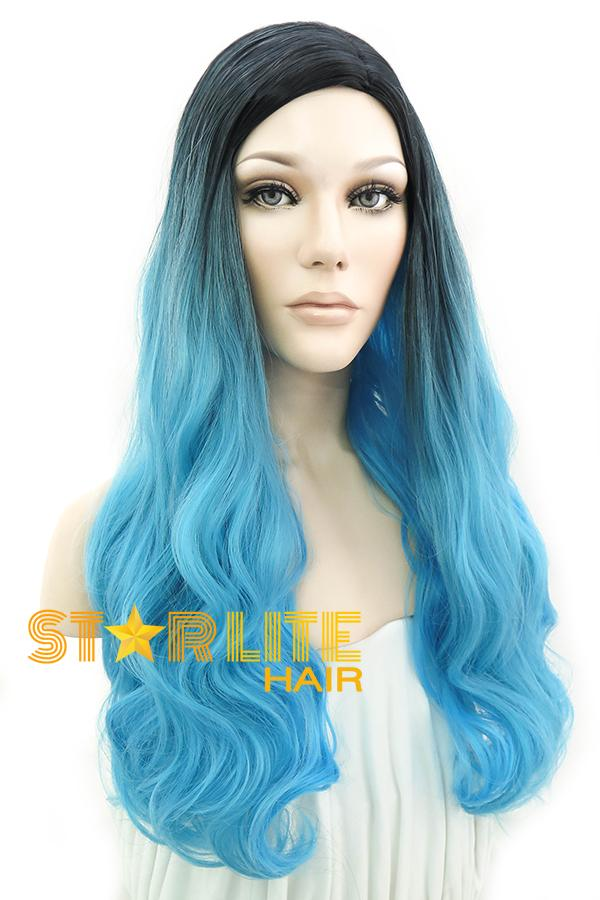 "24"" Light Blue Dark Roots Fashion Synthetic Wig 50191 - StarLite Hair"