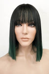 "13"" Black Dark Green Ombre Fashion Synthetic Wig 50226"