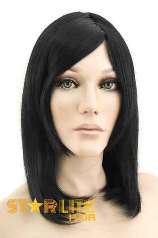 "16"" Black Blue Grey Mixed Ombre Lace Front Wig 10197"