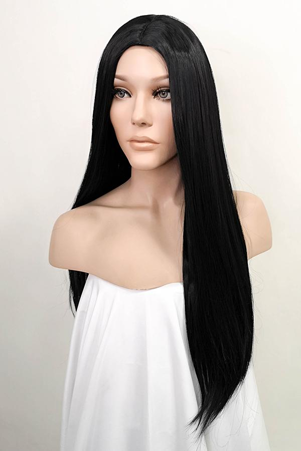 "25"" Black Fashion Synthetic Hair Wig 50202"
