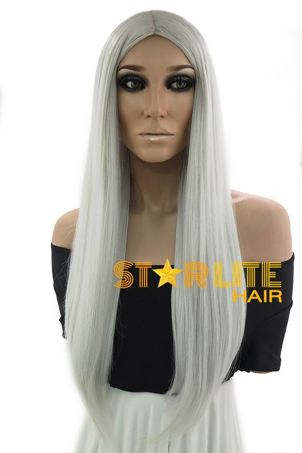 "25"" Silver Grey Fashion Synthetic Hair Wig 50187 - StarLite Hair"
