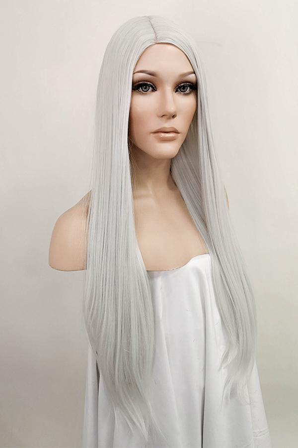 "25"" Silver Grey Fashion Synthetic Hair Wig 50186"