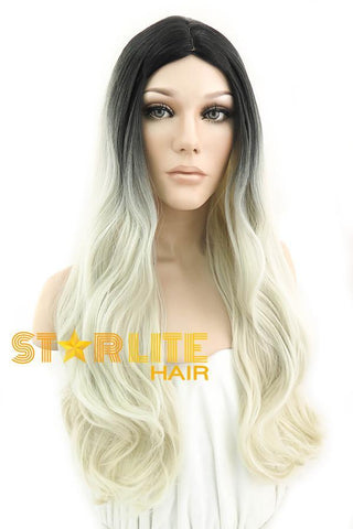"24"" Lake Blue Mixed Brown Lace Front Wig 20253"