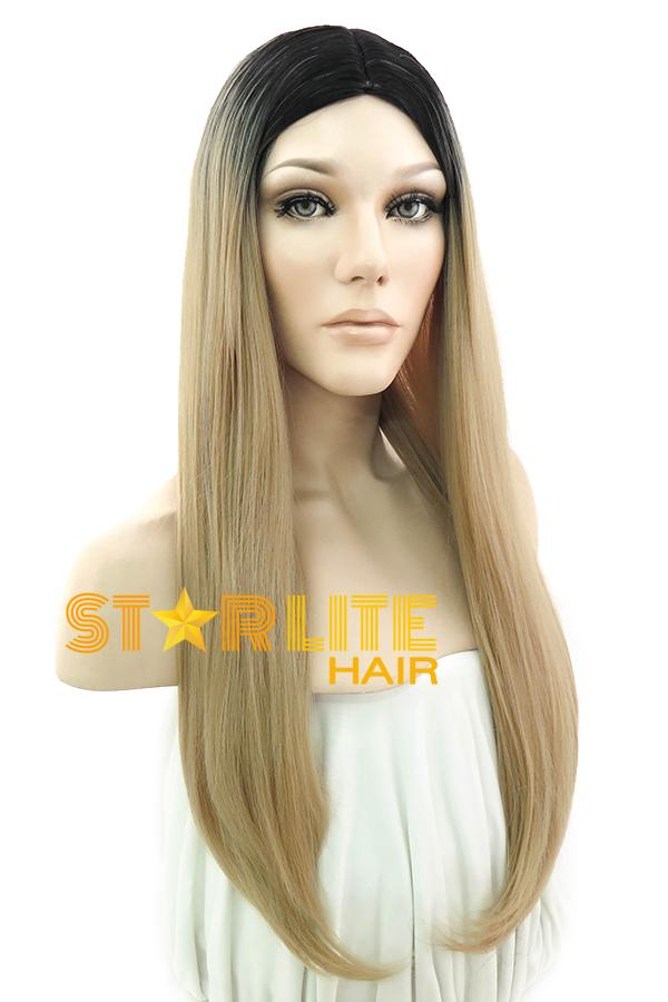 "27"" Ash Blonde With Dark Roots Fashion Synthetic Wig 50082 - StarLite Hair"