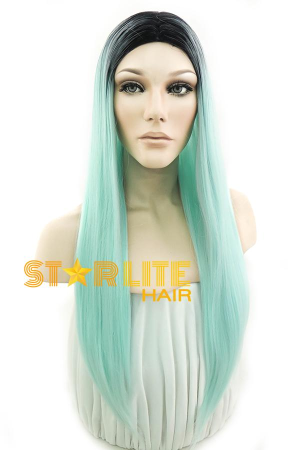 "24"" Green With Dark Roots Fashion Synthetic Wig 50195 - StarLite Hair"