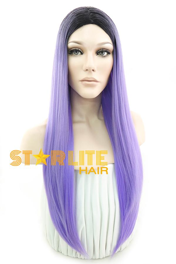 "24"" Purple With Dark Roots Fashion Synthetic Wig 50196 - StarLite Hair"