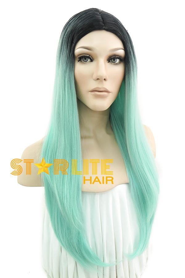 "25"" Green With Dark Roots Fashion Wig 50064 - StarLite Hair"