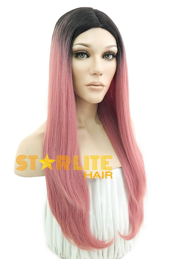 "28"" Pink With Dark Roots Fashion Synthetic Wig 50067 - StarLite Hair"