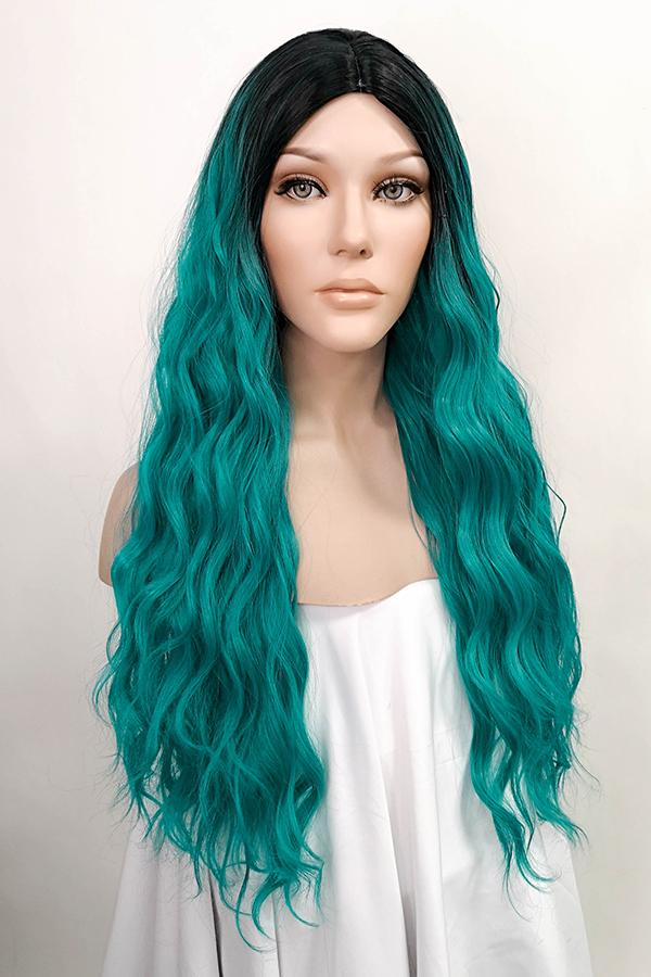 "24"" Green Dark Roots Fashion Synthetic Wig 50100"