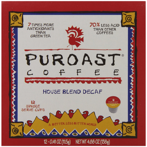 Puroast Low Acid Coffee Single Serve Keurig Compatible Decaffeinated House Blend 12 Count