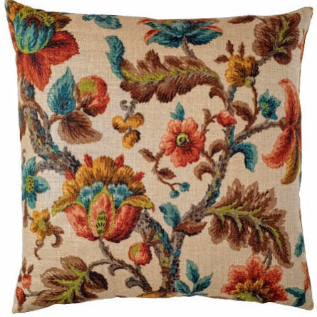 Vintage Cushion In Sanderson Oatmeal Linen Ornate Florals