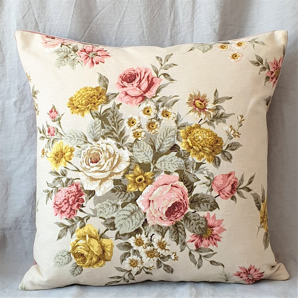 Vintage Floral Cushion In Cream Floral Linen Fabric