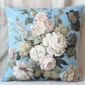 Vintage Floral Fabric Cushion In Blue Floral Print