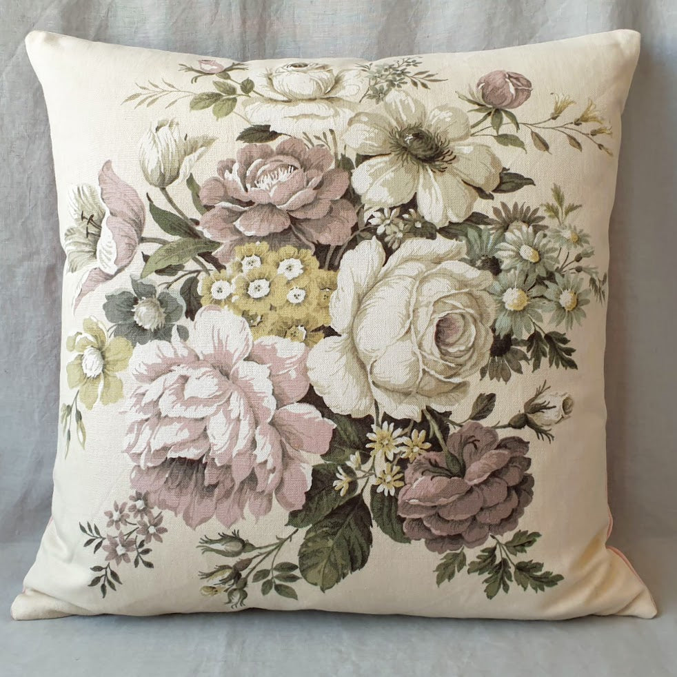 Vintage Floral Fabric Cushion In Beautiful 'Hebe' Large Blooms