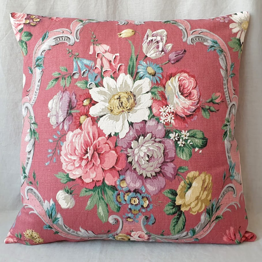 Vintage Floral Fabric Cushion In Sanderson Raspberry 'Boveney' Floral Fabric