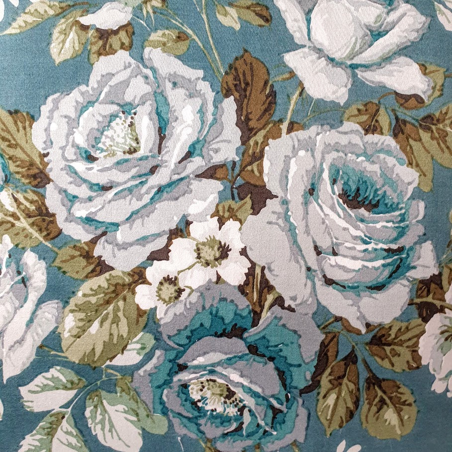 Vintage Floral Fabric Cushion In 'Pompadour' Teal Florals