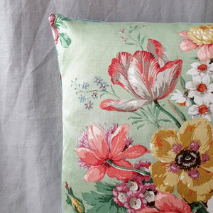 Vintage Floral Fabric Cushion In Pale Green Floral Sanderson Design