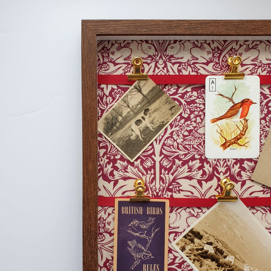 William Morris 'Brer Rabbit' Framed Notice Board - Deep Red