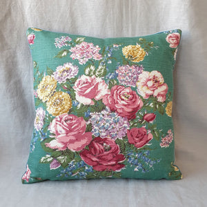 Vintage Floral Cushion In Pink Rose Spray - 16 inch